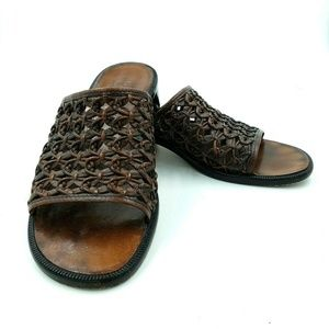 Cole Haan Brown Woven Leather Slide Sandals